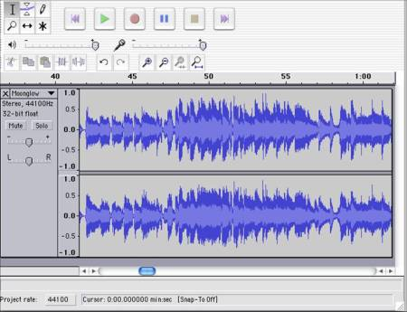 A screen grab of Audacity in action.  Free from http://audacity.sourceforge.net