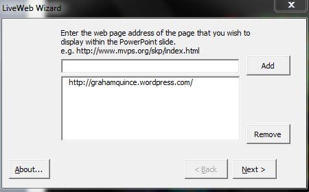 LiveWeb's user interface