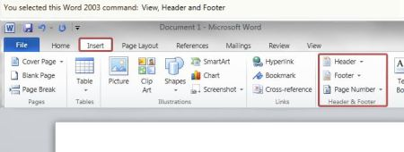 MS Office 2010 - headers and footers