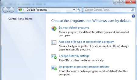 Default Programs page