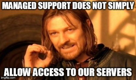 Managed support does not simply allow access to our servers