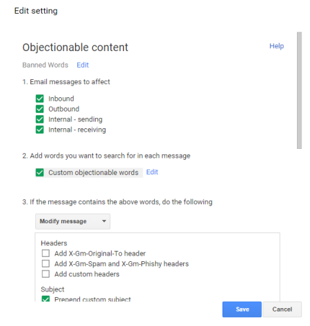 Objectionable content settings